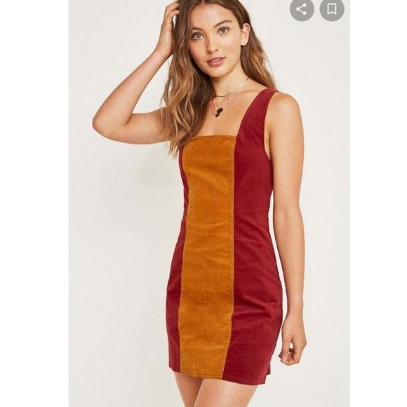 UO Taylor Uncut Corduroy Colourblock Dress